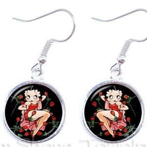 BETTY BOOP Earrings Cabochon Red & Pink Roses